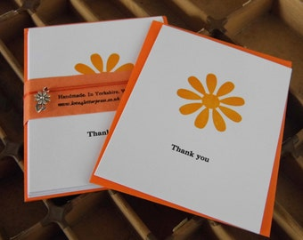Letterpress 'Thank you' blank cards orange sunflowers pack of 5