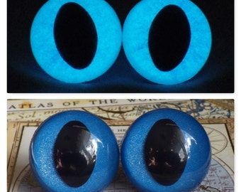24mm Glow In The Dark Cat Eyes, Metallic Blue Safety Eyes With Blue Glow, 1 Pair of Plastic Safety Eyes