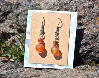 Agate Earrings * Gemstone Jewelry * Minimalist * Simple * Healing Stones * Earthy Jewelry * Boho