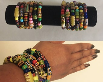 African Bracelet, Trade Beads, Stackable Bracelets,Krobo bead bracelet, Colorful Bracelets, African Jewelry,Beaded bracelets,Gift,Artisan