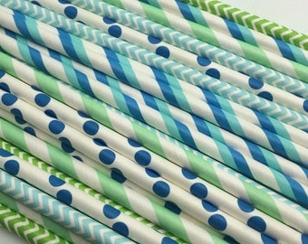 25pc Paper Straws BLUE /GREEN