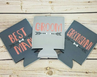 best groomsmen gift wedding party can coolers / custom wedding party gifts / groomsmen gift idea / usher gifts / best man gifts / groom gift