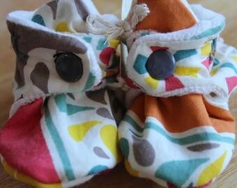 Custom Baby Booties - Handmade Baby Booties - Crib Shoes - Organic Baby Shoes - Organic Baby Booties -  Organic Cotton Baby Shoes - Snap On