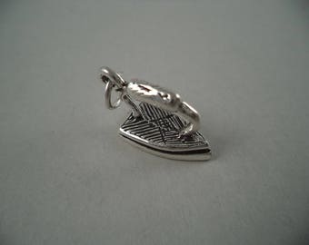 STERLING SILVER 3D Old Flat Iron Charm for Charm Bracelet