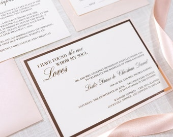 Rose Gold Foil Blush Shimmer And Ivory Wedding Invitation With Printing