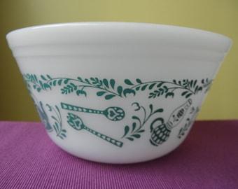Federal Glass Vintage Milk Glass Bowl - Utensil pattern - 1960s