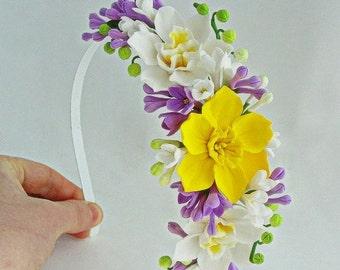 Yellow Daffodil Flower Crown, Daffodil Headband, Spring Flower Crown, Wedding Headpiece, Fairy Headband, Yellow Flowergirl