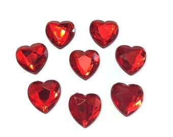 "Red Rhinestone Heart Embellishments (3/4"") Set of 8 Scrapbook Flat Back - 530 J"