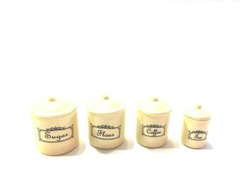 Miniature Canister Sets  Flour Sugar Coffee Tea Dollhouse Miniatures and Supplies - 381