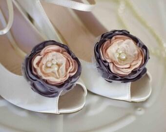 Fabric flower shoe clips, bridal shoe clips, bridemaids