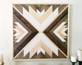 Reclaimed wood wall art, wooden wall decor, wood art, modern wall decor, geometric wall art, rustic wall decor, farmhouse decor