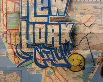 custom street art ny subway map