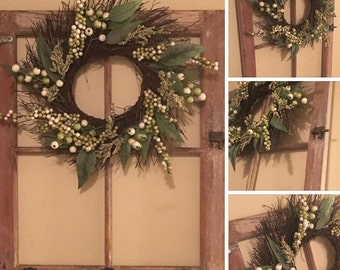 Vintage Window with Wreath