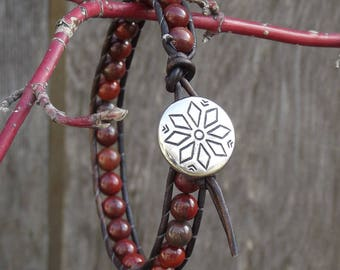 Apple Jasper leather wrap bracelet