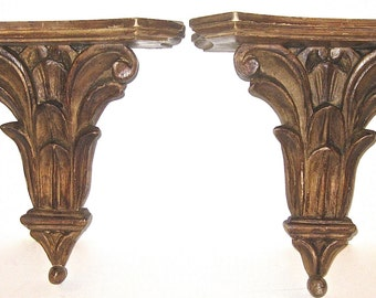Italian Antique Hand Carved Wood Wall Brackets