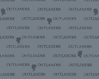Slate Outlander words, A-8325-C cotton fabric, Outlander by Andover Fabrics