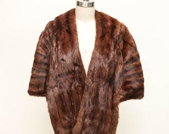 fur cape with monogram vintage 1950s