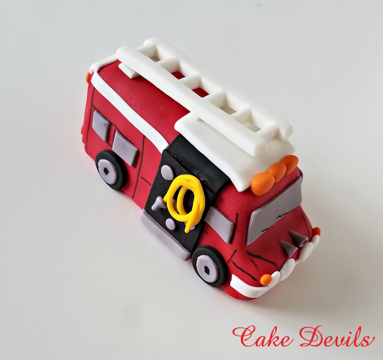 Fondant Fire Truck Cake Topper