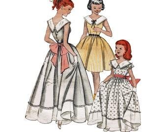50s Girls Party Dress Pattern Formal Flower Girl Full Dress Pattern Vintage 1950s Sewing Pattern Butterick 7333 Girls Size 6