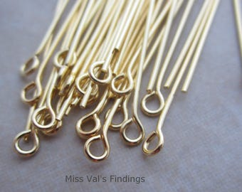 200 gold plated 2 inch eyepins 21 gauge