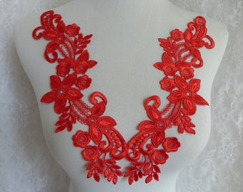 Venise Lace Applique Pair in Red for Bridal, Wedding Applique, Lace Jewelry, Sewing Applique