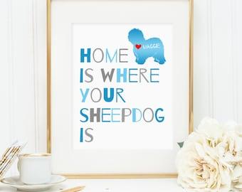 Sheepdog art, Old English Sheepdog dog print, personalized dog art print for your sheep dog, Sheepdog art, gift for dog owners, wall art
