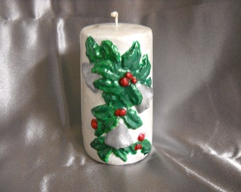 Silver Bells and Holly Leaves Candle-Christmas-Candles-Yule Candles-Gift Ideas-Home Living-