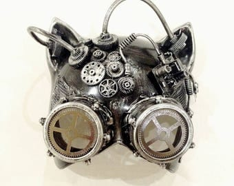 Metallic Steampunk Mask masquerade mask Gatto Party Goggle Cat face mask with Goggle
