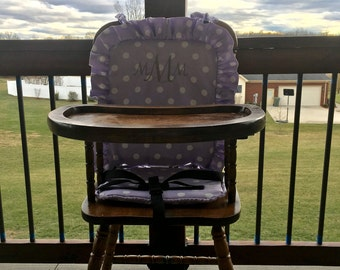 Lavendar Wooden Highchair Cover/Pad/Cushion. High Chair cover/Pad/Cushion. Polka Dot Cushion for vintage highchairs.