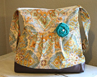 Concealed Carry Purse, Medium Messenger Bag, Fall Paisley, Conceal Carry Handbag, Concealed Carry Purse, Conceal and Carry