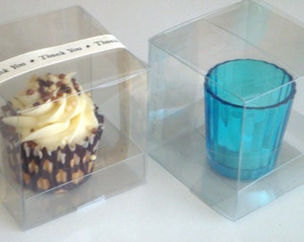 12 Clear PVC Cupcake Boxes With Inserts - Weddings - Birthdays - Favours - Sweets