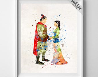 Mulan Poster, Mulan Art, Mulan Print, Disney Princess, Mulan Watercolor, Disney Poster, Girls Room Art, Baby Wall Decor, 4th of July