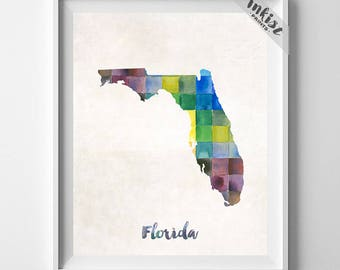 Florida Map, Tallahassee Print, Florida Poster, Miami Map, Watercolor Map, Map Art, State Art, Home Decor, Map Poster, Christmas Gift