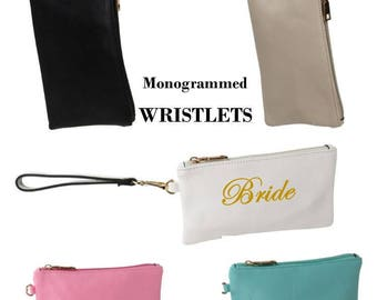 Monogrammed Wristlets / GROUP OF FIVE/   Bridesmaids  / Teachers/ Best Friend