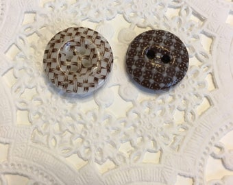 Two Beautiful Brown Calico China Buttons