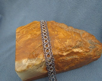 3 Strand Silver and Gunmetal Chainmaille Bracelet with Silver Slider Clasp
