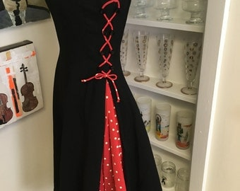 1950s 50s Vintage Black and Red Circle Skirt Dress