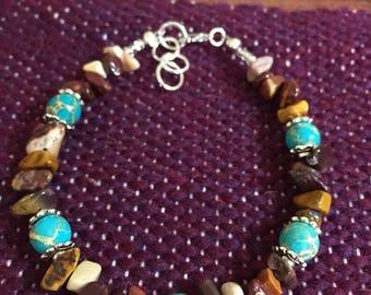 Mookaite and Blue Sea Sediment Jasper beaded bracelet. 8 inch