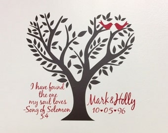Love Birds | Wall Decal | Vinyl Decal | Anniversay | Wedding | I have found the one my Soul Loves