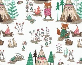 Cotton crib and mini crib sheets including 4Moms breeze Arms Reach, Bloom Baby, etc camping fox teepee camp fire girls bunnies wilderness