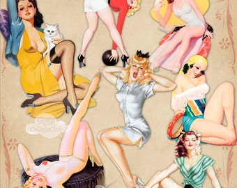 Vintage Pin Up Girls Clipart Clip Art Images for Scrapbooking, Decoupage, Card Making. Digital Collage Sheet Instant Download