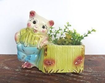 Vintage Ceramic Pig Planter, Hull Pottery Pig Figurine, Kitsch Farmhouse Animal Succulent Home