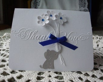 Thank you baby shower gift, Baby elephant, Embossed thank you, handmade flowers, greeting card, handmade