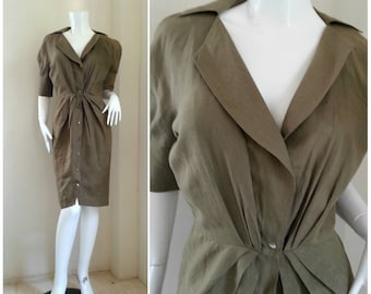Flash Sale/ 1980s Vintage Thierry Mugler shirt dress / Size 9AR Small - Medium