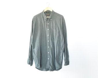 90s MINIMAL PLAID BUTTONDOWN // size mens xx large // 1990s // button down // shirt // button up // oxford // baggy // classic / vtg vintage