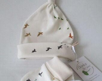 Baby Hat & Mittens set  - birds, Organic Cotton,  baby clothes, baby hat, scratch mittens, newborn gift, bonnet