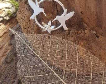 Sterling silver Hummingbirds and flower pendant