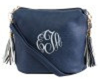 Monogrammed Navy Blue Fashion Crossbody
