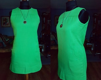 Vintage Lime green dress / Sleeveless dress / Twiggy style dress / Twiggy dress / 60s