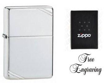 Personalized Zippo Lighter  Vintage Chrome Hand Engraved Custom
